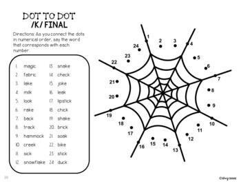 Dot To Talk Articulation Activity: Halloween