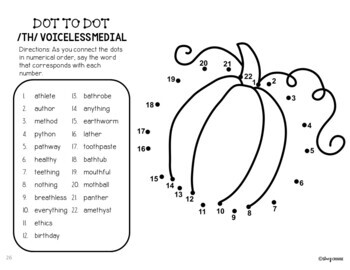 Dot To Talk Articulation Activity: Thanksgiving