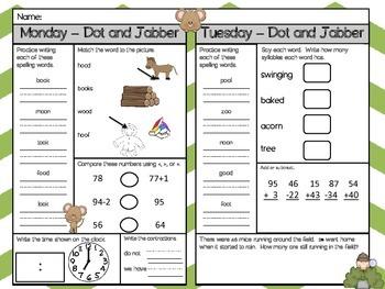 Dot and Jabber Homework - Scott Foresman 1st Grade