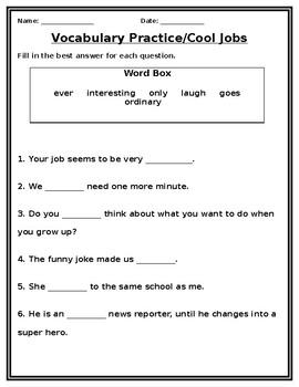 Cool Jobs Vocabulary Practice