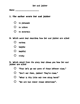 Dot and Jabber and the Great Acorn Chapter Test - Reading