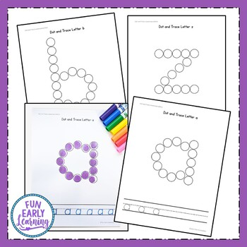 Dot and Trace Lowercase Letters - No Prep Worksheets