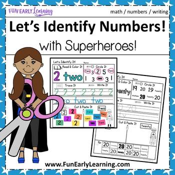 Let's Identify It - Superhero Numbers - No Prep Interactive Worksheets