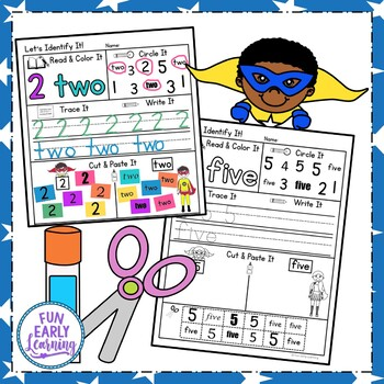 Let's Identify Numbers with Superheroes! NO PREP activity