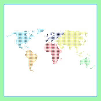 Dot or Circle World Continents Icons Clip Art Pack for Commercial Use