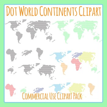 Dot or Circle World Continents Icons Clip Art Pack for Com