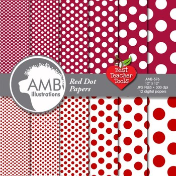 DOTS Digital Papers - Dark Red Dot Digital Patterns and Backgrounds, AMB-576