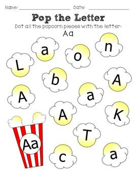 dot the letter popcorn themed by the chalkboard garden tpt. Black Bedroom Furniture Sets. Home Design Ideas