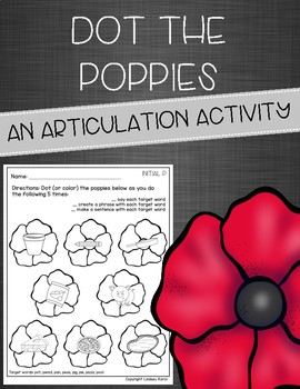 Dot the Poppies: An Articulation Activity