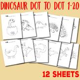 Dot to Dot 1-20 Dinosaur dot to dot worksheets