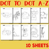 Dot to Dot Alphabet A-Z Worksheets Animal Themed