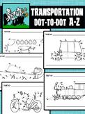 Dot to Dot / Connect the Dots  ALPHABET A - Z - TRANSPORTATION SET