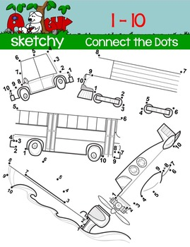 Dot to Dot / Connect the Dots 1 - 10 - TRANSPORTATION SET