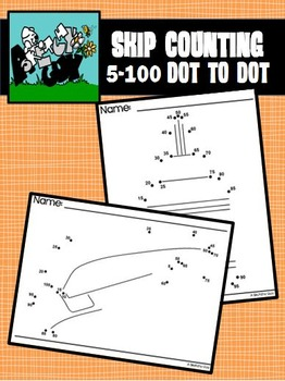 Dot to Dot School Supplies / Back to School 5's / 5 - 100 - SKIP COUNTING