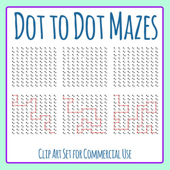 Dot to Dot Mazes with Solutions Clip Art Set for Commercial Use