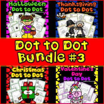 Dot to Dot Printables Bundle #3: Halloween, Thanksgiving, Christmas, Valentine's
