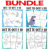 Dot to Dot Worksheets Dinosaur Dot to Dot 1-10, 1-20 Coloring Bundle