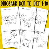 Dot to Dot 1-10 Worksheets Dinosaur