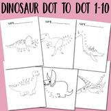 Dot to Dot Worksheets Dinosaur Dot to Dot 1-10 for Kids