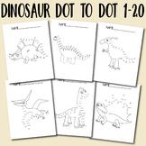 Dot to Dot Worksheets Dinosaur Dot to Dot 1-20 for Kids