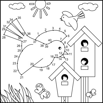 Dot To And Coloring Activity Page With Birds Birdhouses Commercial Use