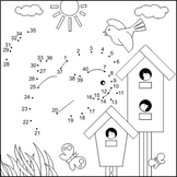 Dot-to-dot and Coloring Activity Page with Birds and Birdh