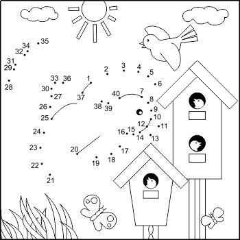 dot a dot color activities teaching resources teachers pay teachers Mg Dot Diagram dot to dot and coloring activity page with birds and birdhouses mercial use
