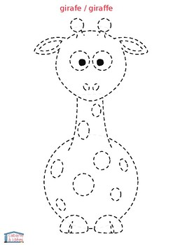 Dot to dot animal pictures - in French and English