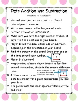 Dots Addition and Subtraction Game