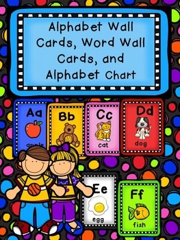 Dots Alphabet Wall Cards, Word Wall Cards, Sorting Cards, and Alphabet Chart