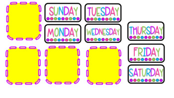 Dots & Brights Classroom Decor - Calendar Cards