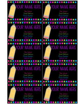 Dots & Brights EDITABLE Teacher Business Card Template