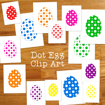Dots Eggs Clip Art PNG JPG Bright Colors Spring Commercial or Personal Use