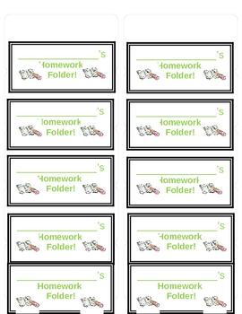 Dots Homework Folder Labels