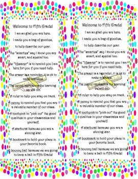 Dots Meet the Teacher Bag Label Fifth Grade