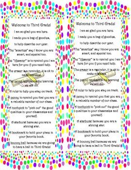 Dots Meet the Teacher bag label Third Grade