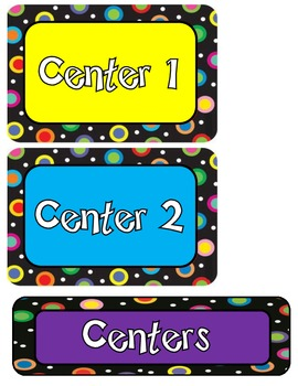 Colored Polka Dots On Black Center Label