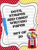 Dots, Stripes and Candy.  Set of 20 Printable Writing Papers