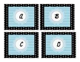 Dots and Blue Cursive Alphabet Cards