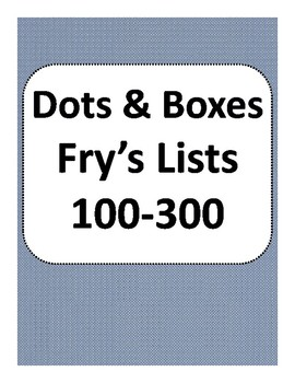 Dots and Boxes Fry's Sight Words