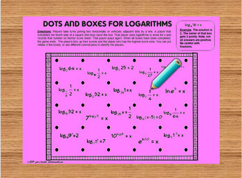 Dots and Boxes for Logarithms Fun Game