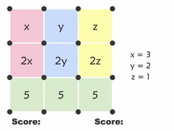 Dots and Boxes xyz (algebra game with $500 classroom challenge)
