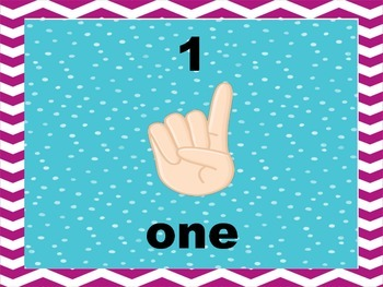 Dots and Chevron Number Posters with Hands to 10
