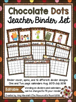 Chocolate Dots Editable Teacher Binder/Calendar Set
