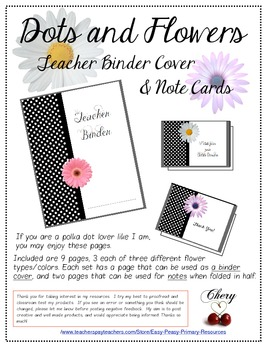 Dots and Flowers Binder Cover and Note Cards