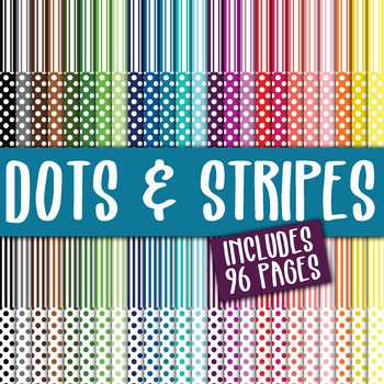Dots and Stripes Digital Paper Bundle - 96 Papers - 12 x 12