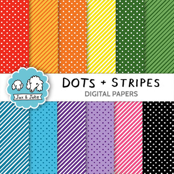Clip Art: Dots and Stripes Digital Papers for Personal and Commercial Use