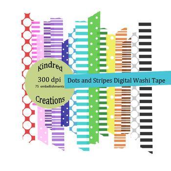 Dots and Stripes Washi Tape Digital Clip Art Set
