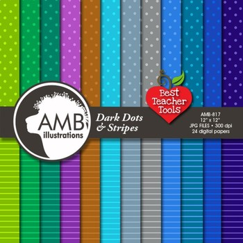 Dots and Stripes Digital Papers, Pattern Digital Backgrounds, AMB-817