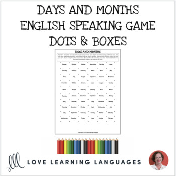 picture regarding Dots and Boxes Printable titled Dots and bins sport - Times and Weeks - No prep printable